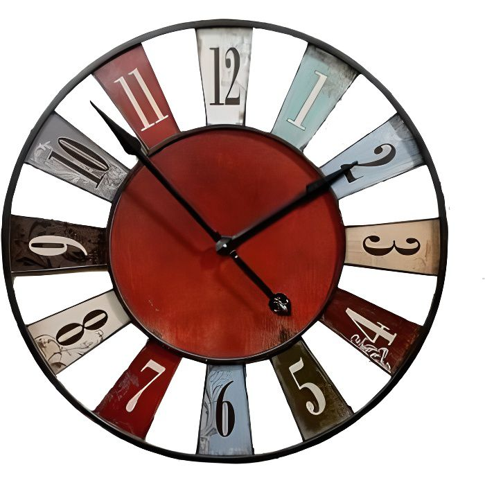 horloge murale originale multicolore bilbao 74cm achat vente horloge cdiscount. Black Bedroom Furniture Sets. Home Design Ideas