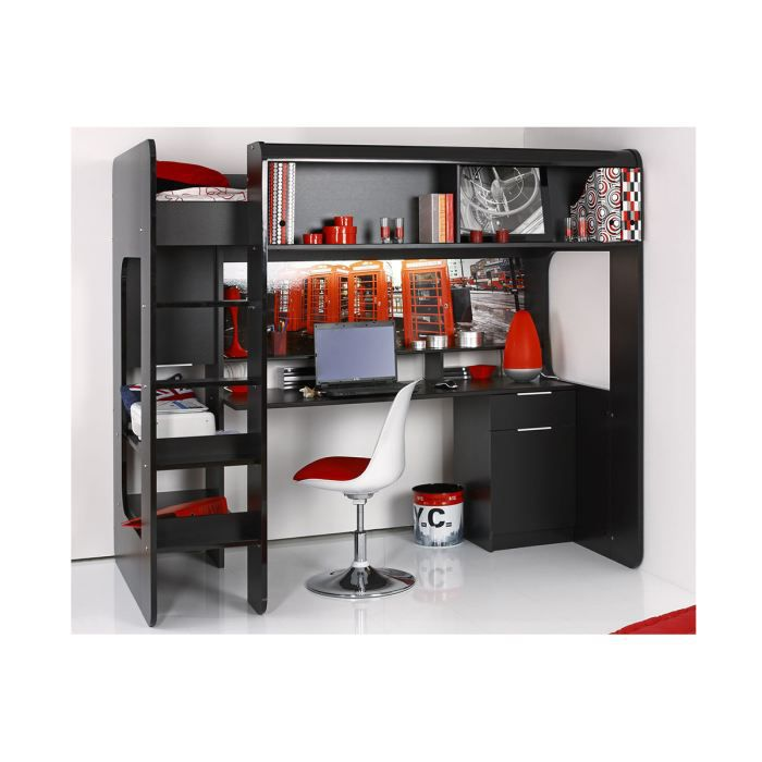 lit sur lev adolescent 90x200 cm noir london dark achat vente lit combine lit sur lev. Black Bedroom Furniture Sets. Home Design Ideas