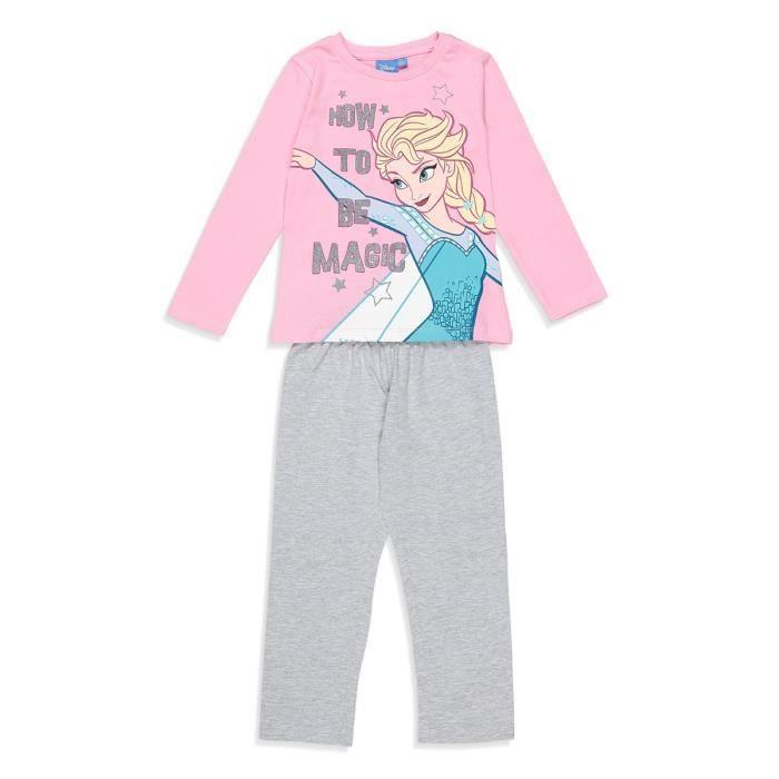 PYJAMA LA REINE DES NEIGES Pyjama Rose et Gris Clair Enfa