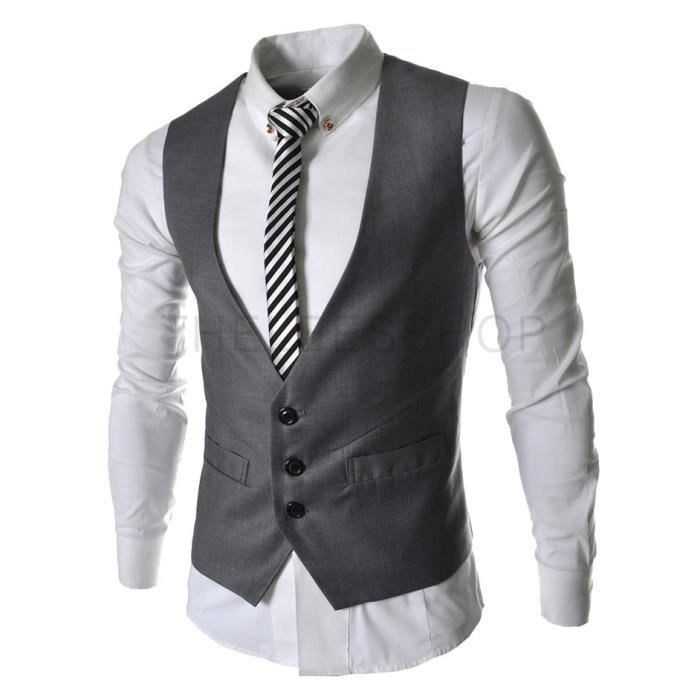 gilet hommes slim fit costume de mariage vest gris gris achat vente gilet de costume cdiscount. Black Bedroom Furniture Sets. Home Design Ideas