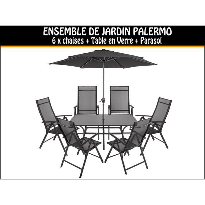 ensemble de jardin palermo 6 chaises table parasol achat vente salon de jardin ensemble. Black Bedroom Furniture Sets. Home Design Ideas