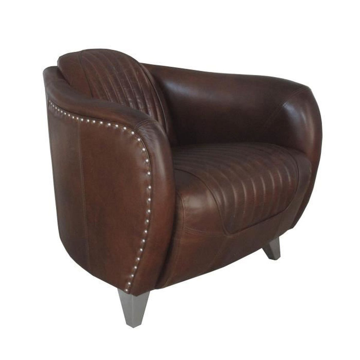 fauteuil club aviateur daytona cuir marron vintage achat vente fauteuil marron cdiscount. Black Bedroom Furniture Sets. Home Design Ideas