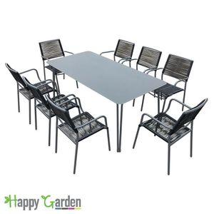 Salon de jardin SAN DIEGO noir structure grise 8 places ...