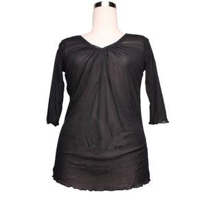 T-SHIRT Haut,T-shirt en résille transparente,noir, manches