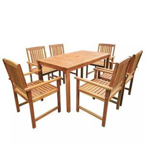 Salon de jardin en teck LOMBOK - table ronde extensible - 6 ...