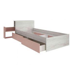 TIROIR DE LIT Lit enfant tiroir 90x190 en bois grisé et rose - L