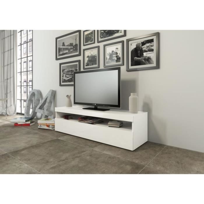 burrata meuble tv 130cm laqu blanc achat vente meuble. Black Bedroom Furniture Sets. Home Design Ideas