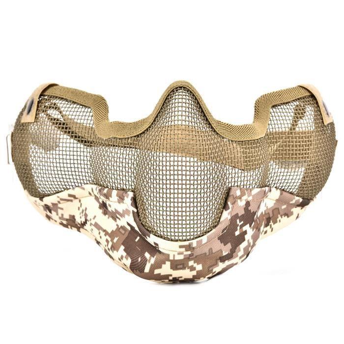 Masque de protection de tactique d'oreille visage fil d'acier demi-visage (Digital Desert Camo)