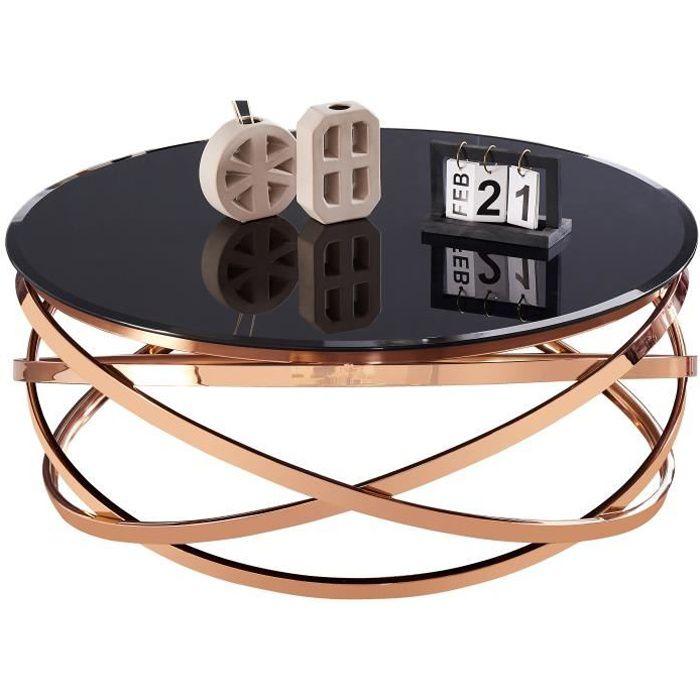 Table basse design rond avec piètement en acier inoxydable poli rose gold et plateau en verre trempé noir L. 100 x H. 43 cm