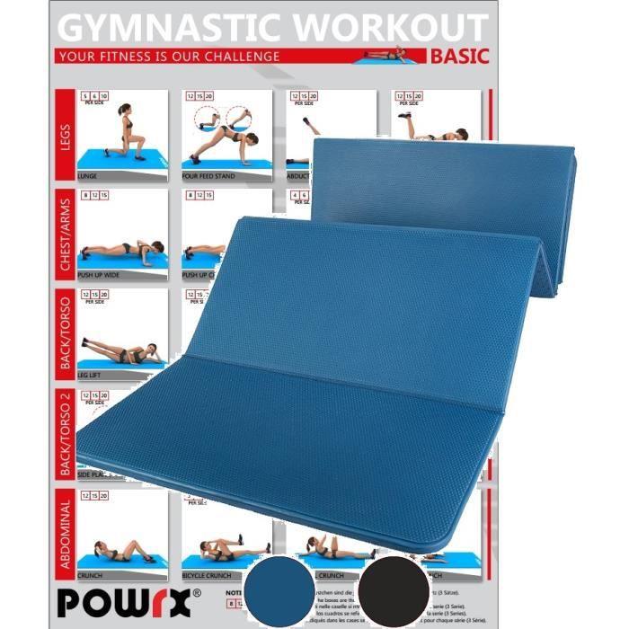 Tapis de gymnastique pliable 180 cm sans PVC, bleu ou noir Couleur: bleu