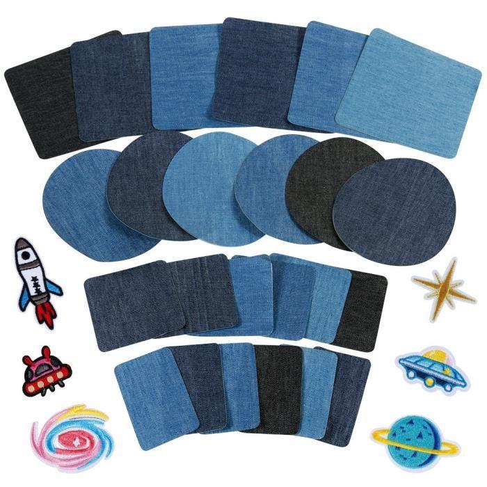 30pcs Patchs,24PCS Denim Patch Bleu Ovale en Tissu 6PCS Patch Thermocollants, Patchs de Vetement pour t-Shirt Jeans Sacs Jupe Répara