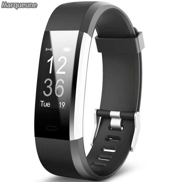 Montre Connectée Smartwatch Marqueune Etanche IP68 Podomètre pour iPhone Samsung Huawei Smartphone Femme Homme Noir