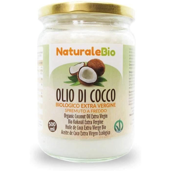Huile de Coco Bio Extra Vierge 500 ml. Crue et Pressée à Froid. 100% Organique, Naturel et Pur. Huile Bio Native Non Raffinée. Pays