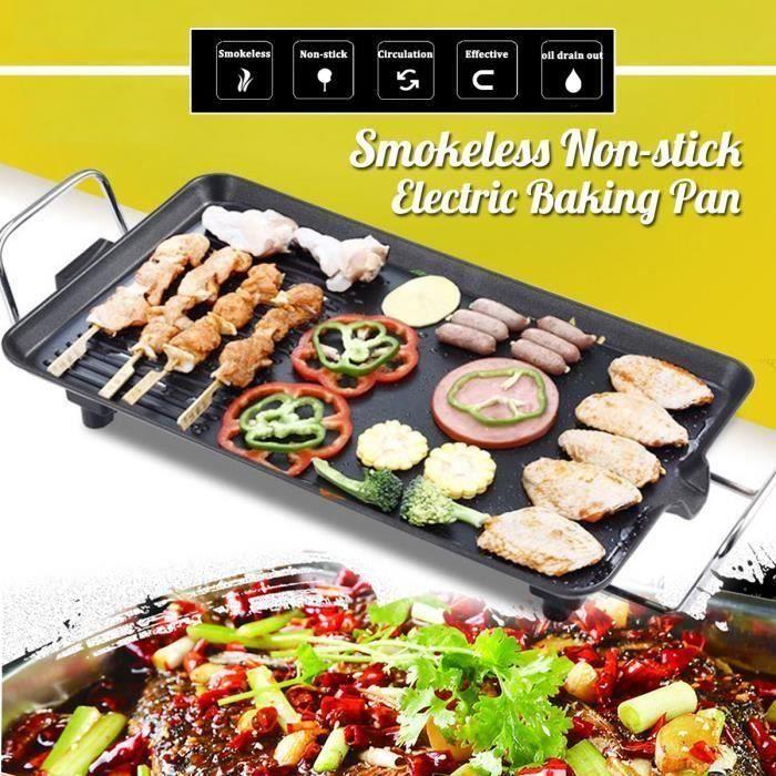 Plancha Électrique Grill Viande 1500W 5-Niveaux de Température Réglable - Barbecue de Table Party Fête
