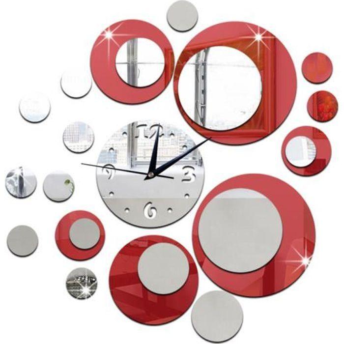 Horloge Murale Design, Horloge murale miroir, Horloge murale silencieuse, Pendule murale design pour Maison,salon,cuisine - Rouge