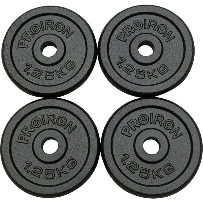 BARRE HALTERE POIDS PROIRON Plaques de Poids de Fonte de Fer 1.25kg &times4 pour 1 Pouce Barre de poign&eacutee d'halt&egrave2