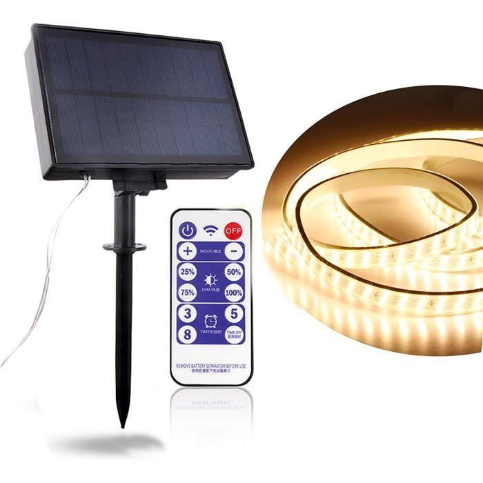 Ruban LED 5m Bande LED Solaire IP67 Etanche 2 Modes Décoratifs Panneaux Solaires Bande Lumineuse Intérieur ou Extérieur pour
