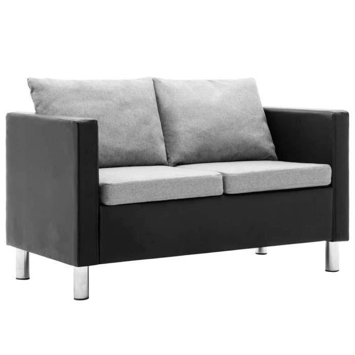 CIKONIELF Canapé à 2 places Simili-cuir Noir et gris clair