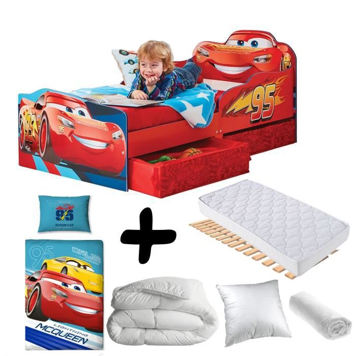 Pack complet Premium Lit Design Flash McQueen tiroirs Cars Disney = Lit+Matelas & Parure+Couette+Oreiller