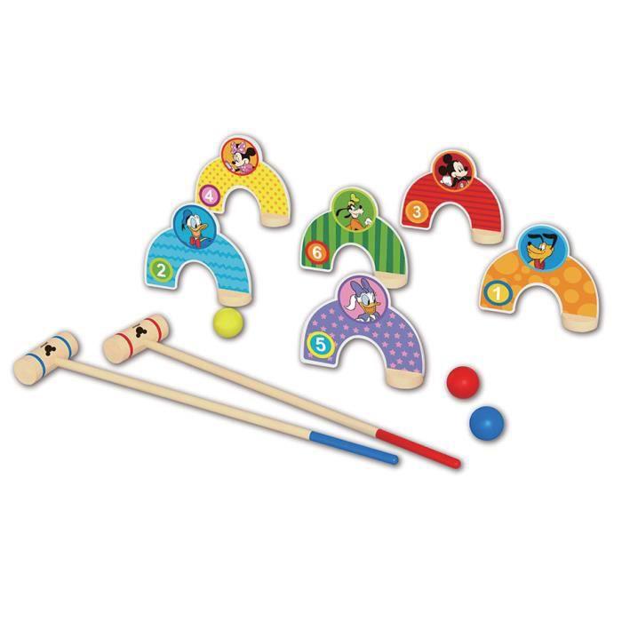 Disney jeu de croquet Mickey Mouse junior 55 cm en bois 10 pièces