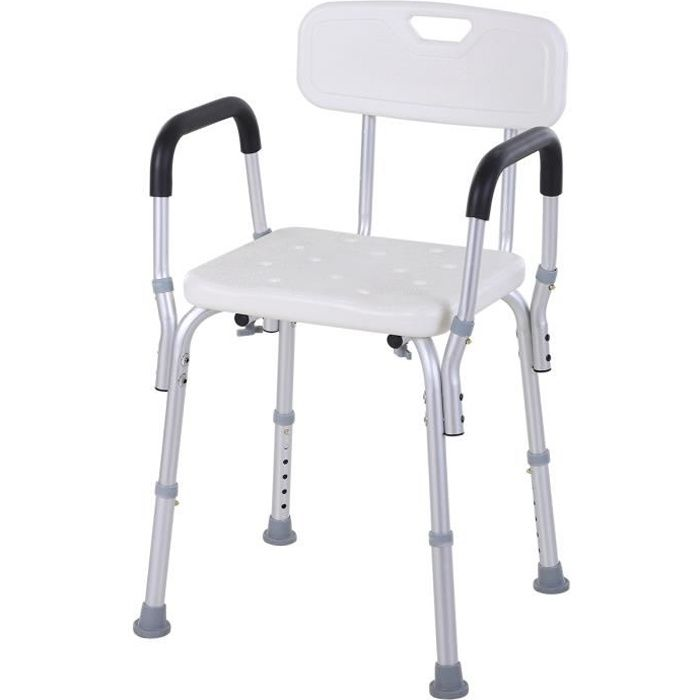 Chaise de douche siège de douche ergonomique hauteur réglable pieds antidérapants charge max. 135 Kg alu HDPE blanc 51x43x71-84cm