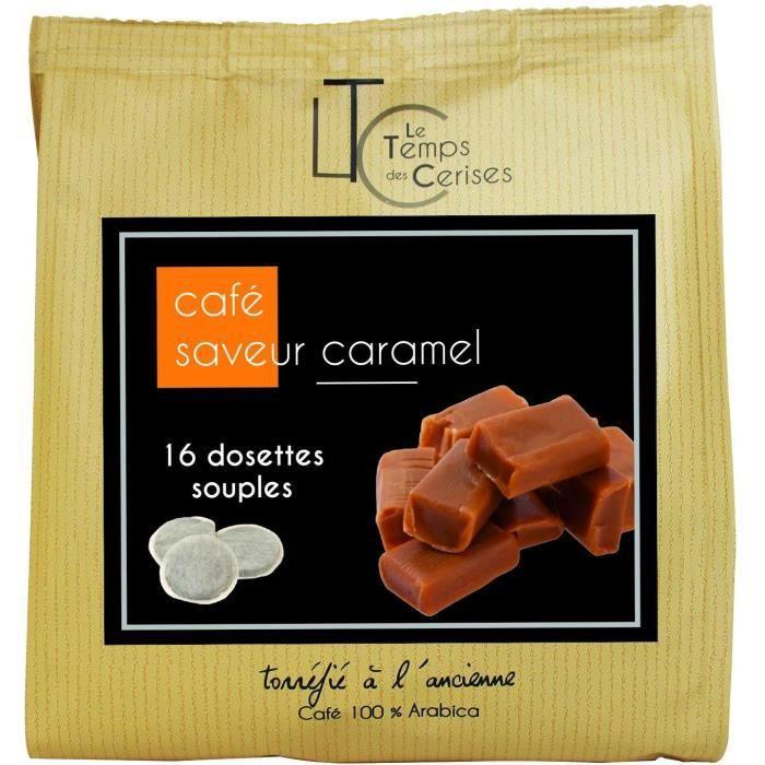 LE TEMPS DES CERISES Dosette Café Saveur Caramel Sachet De 16 - 112g