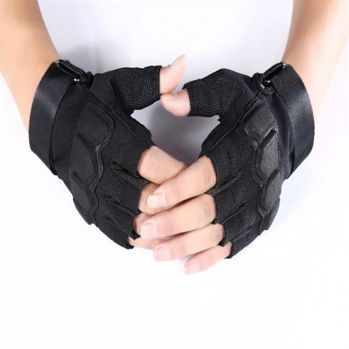 XUNYLYEE® Gants Tactique Antidérapant Gants Demi-Doigts pour Homme Femme Gant Militaire Gant de Vélo Moto - Noir