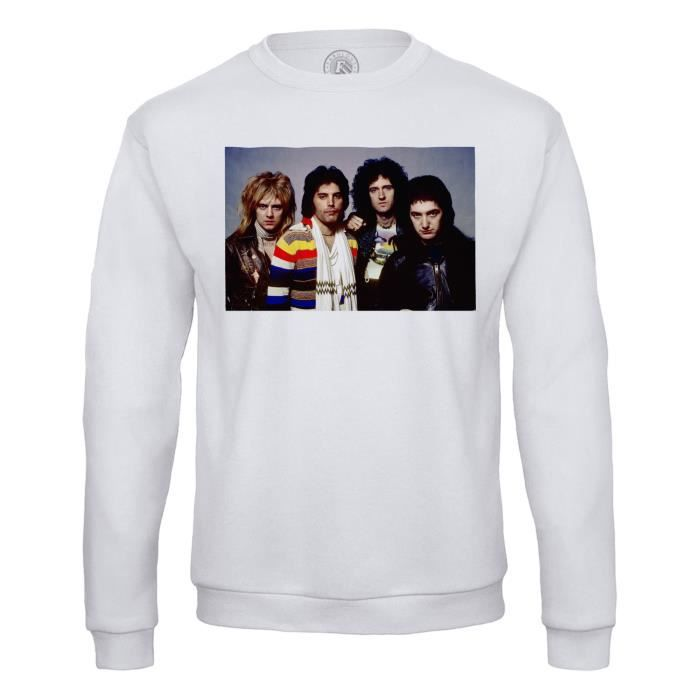 Sweat Shirt Homme Queen Freddy Mercury Rock 80's Brian May Groupe Portrait