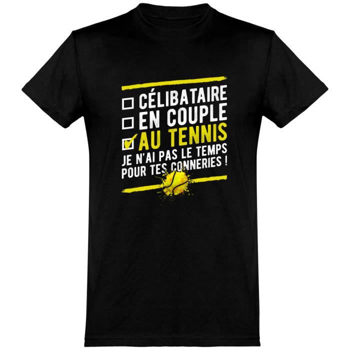 tee shirt homme humour - Cadeau imprimé en France - 100% coton, 185gr - célibataire au tennis