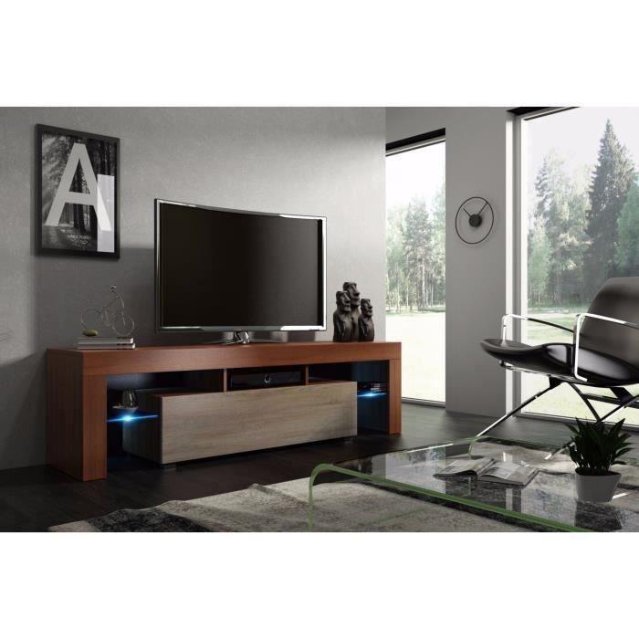 Meuble tv 160 cm noyer MDF et chêne avec led RGB