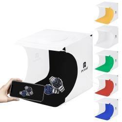Kit Studio Photo - PULUZ 20cm Portable 550LM Pliable Lumière Photo Studio Éclairage Studio Kit Tente de Tir Box avec 6 Couleurs