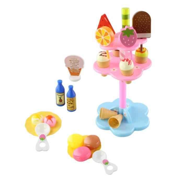 22pcs jouets ensemble de jeu de nourriture en forme de crème glacée pour enfants SORBETIERE - MACHINE A GLACE