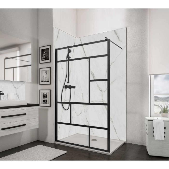 Paroi de douche fixe à l'italienne 120x200 cm, Walk In Black Style, verre décor Atelier, profilé noir, Schulte