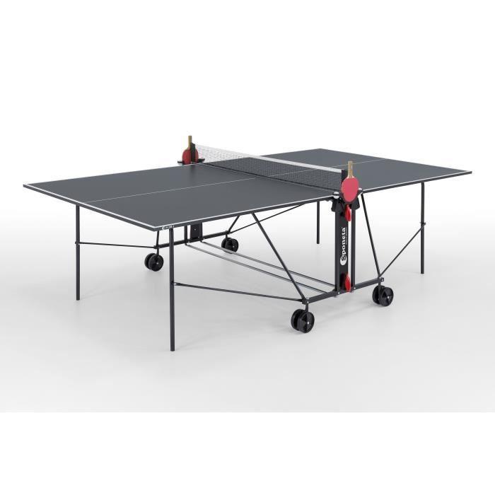 SPONETA Table Tennis de Table - Table Ping Pong Compacte - Usage Intérieur - Gris et noir