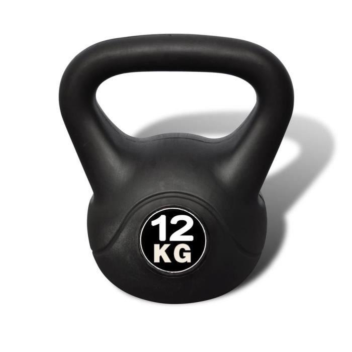 HAO Kettlebell de 12 kg noir Poids libres 22,5 x 22,5 x 32 cm 9375306483613