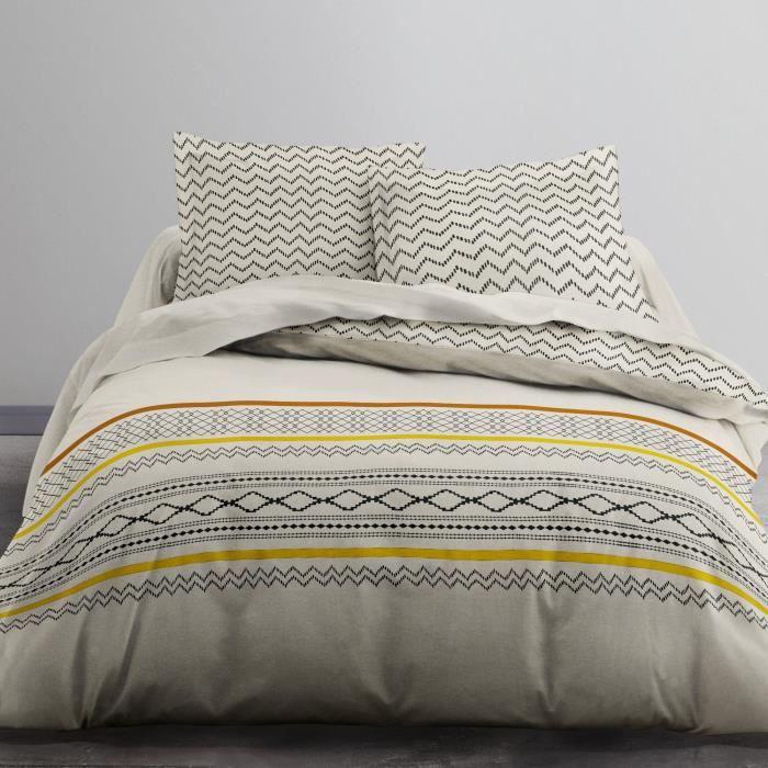 Housse de couette et taie d'oreiller 100% coton Djelba - taille:240 x 260 cm