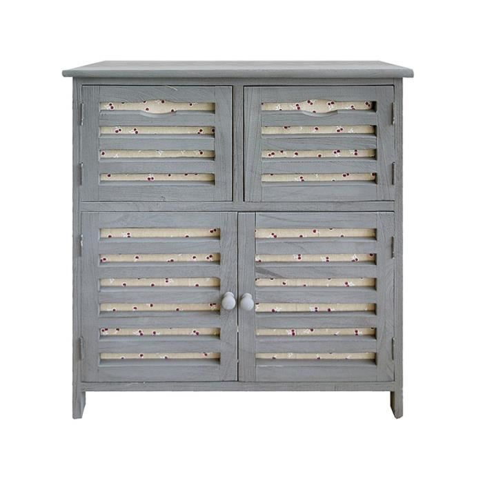 meuble de rangement armoire 4 port bois tissu gris vintage. Black Bedroom Furniture Sets. Home Design Ideas