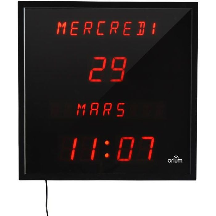 orium horloge led date digitale 28x28 cm noir achat vente horloge pendule plastique. Black Bedroom Furniture Sets. Home Design Ideas
