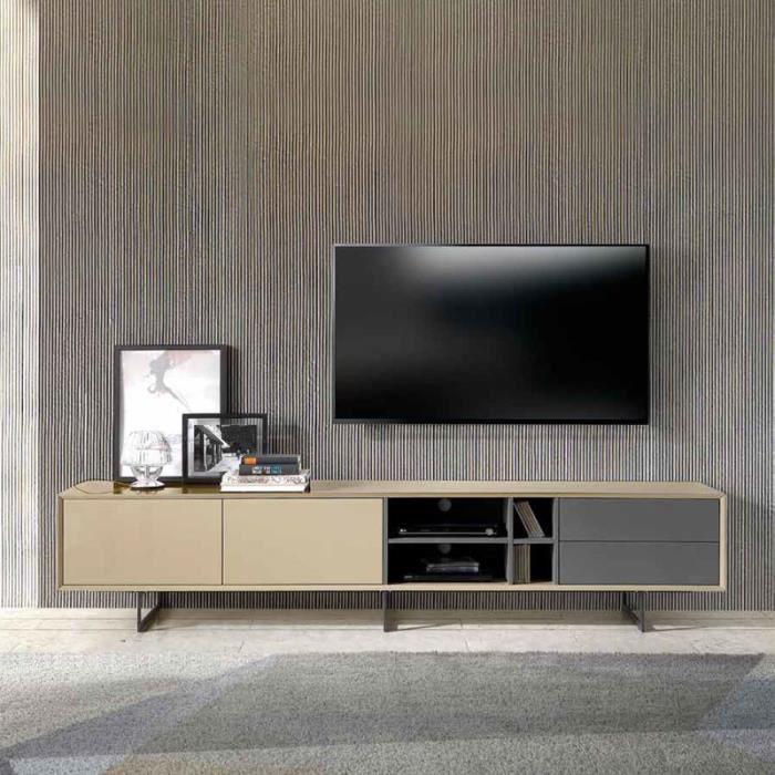 meuble tv design taupe et gris maite