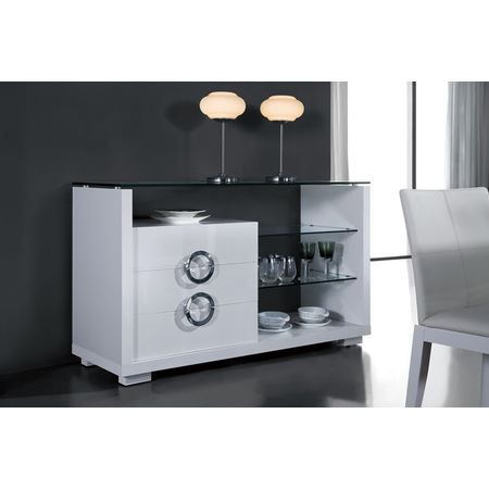 buffet bahut design laqu blanc tag res en ver achat. Black Bedroom Furniture Sets. Home Design Ideas