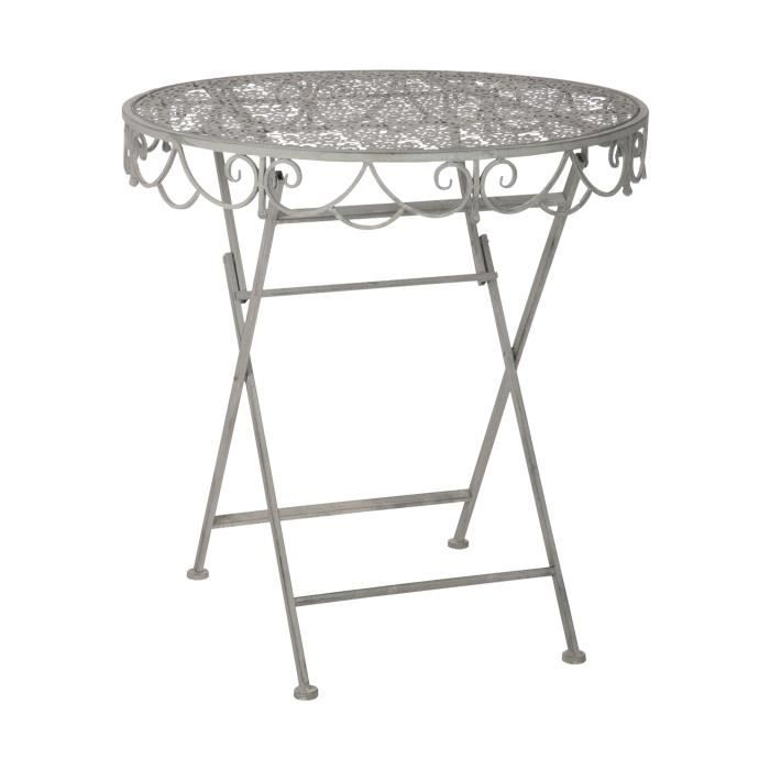Table pliante en m tal gris 70x70x74cm achat vente for Table a manger pliante