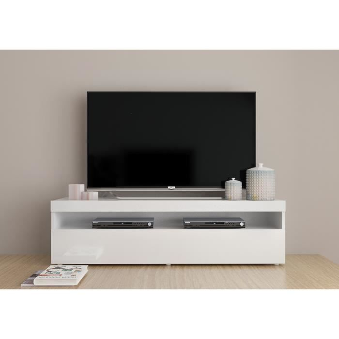 finlandek meuble tv contemporain laqu blanc l 130 cm achat vente meuble tv finlandek. Black Bedroom Furniture Sets. Home Design Ideas