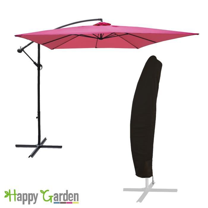 pack parasol d port carr 2 7x2 7m fuchsia housse achat vente parasol pack parasol. Black Bedroom Furniture Sets. Home Design Ideas