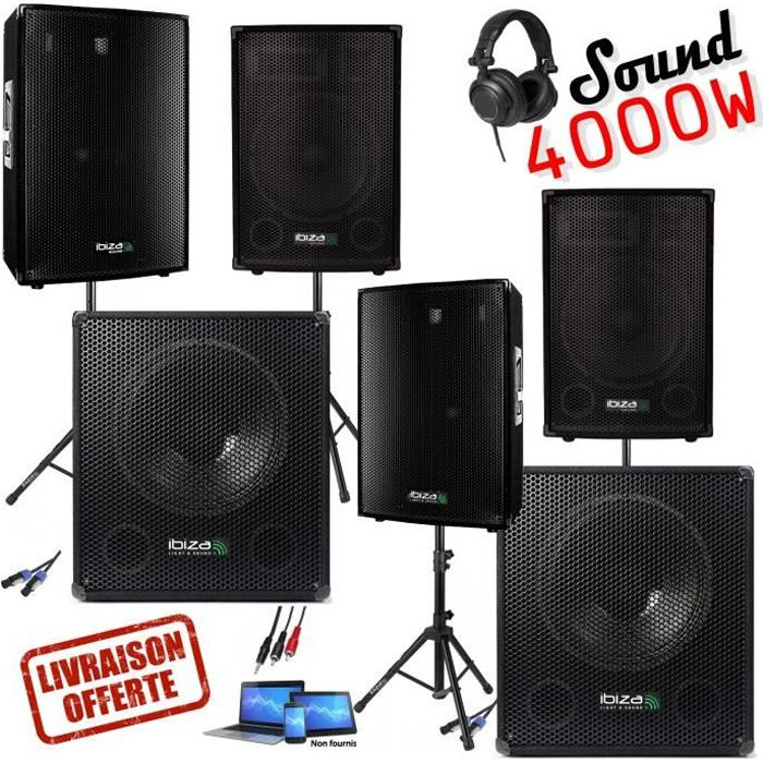 pack sono dj amplifie 4000w de 2 caissons 4 enceintes. Black Bedroom Furniture Sets. Home Design Ideas