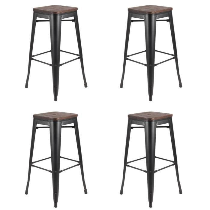 tabouret de bar bois et fer fabulous beautiful with. Black Bedroom Furniture Sets. Home Design Ideas