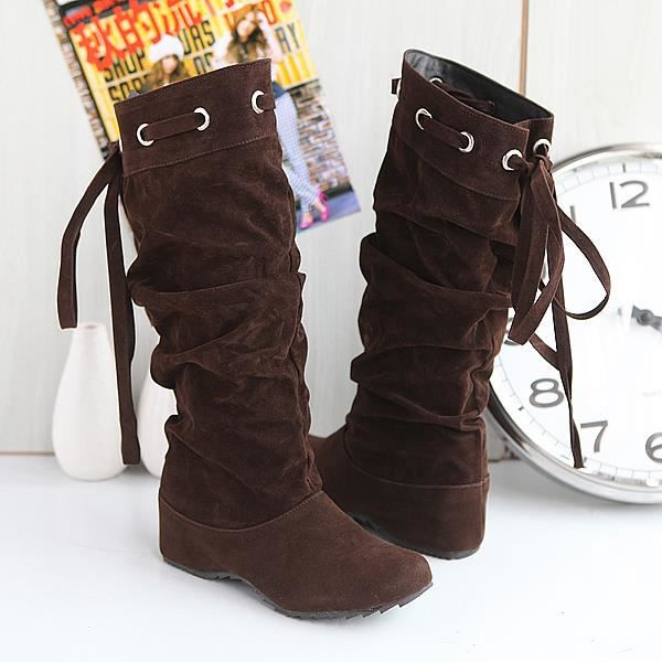 bottes bottines plates chaussures femme bpf8 marron marron achat vente botte cdiscount. Black Bedroom Furniture Sets. Home Design Ideas