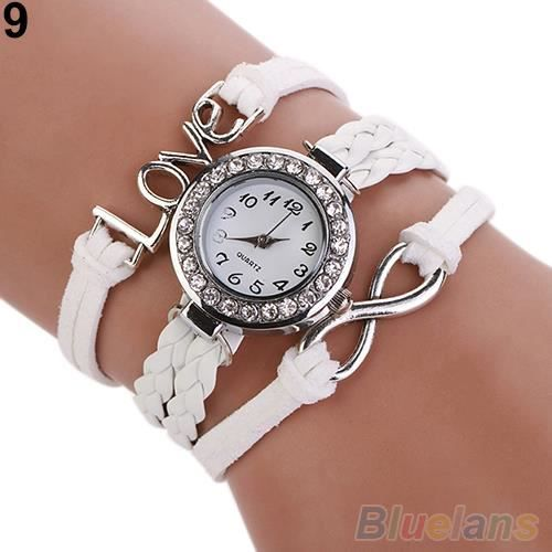 femme montre bracelet style d 39 amour avec bracelet en cuir artificiel tress analogique quartz. Black Bedroom Furniture Sets. Home Design Ideas