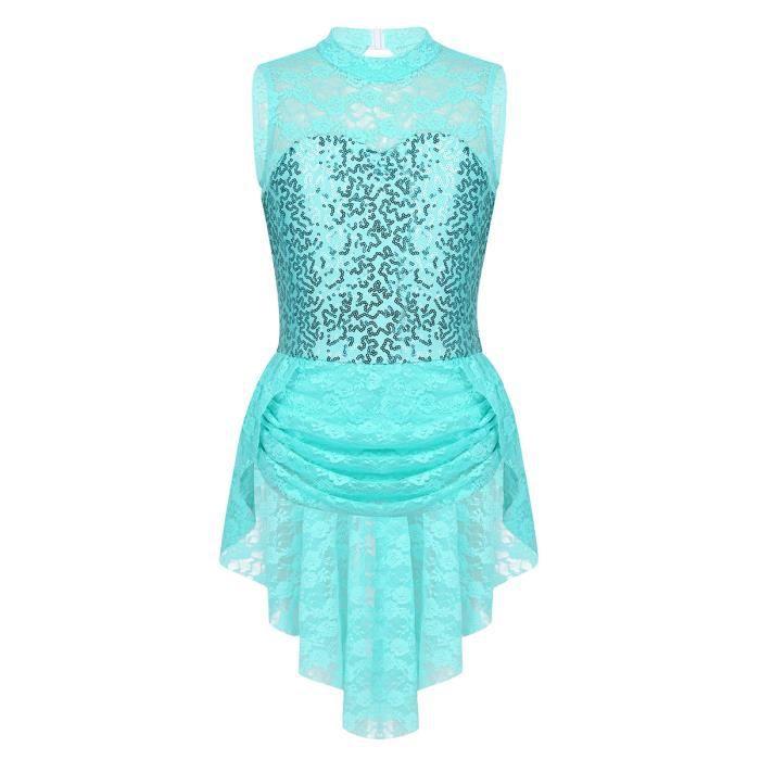 Enfant Fille Robe Danse Sur Glace Tenue Patinage Artistique Paillette Costume Dentelle Robe 6 14 Ans Vert Prix Pas Cher Cdiscount
