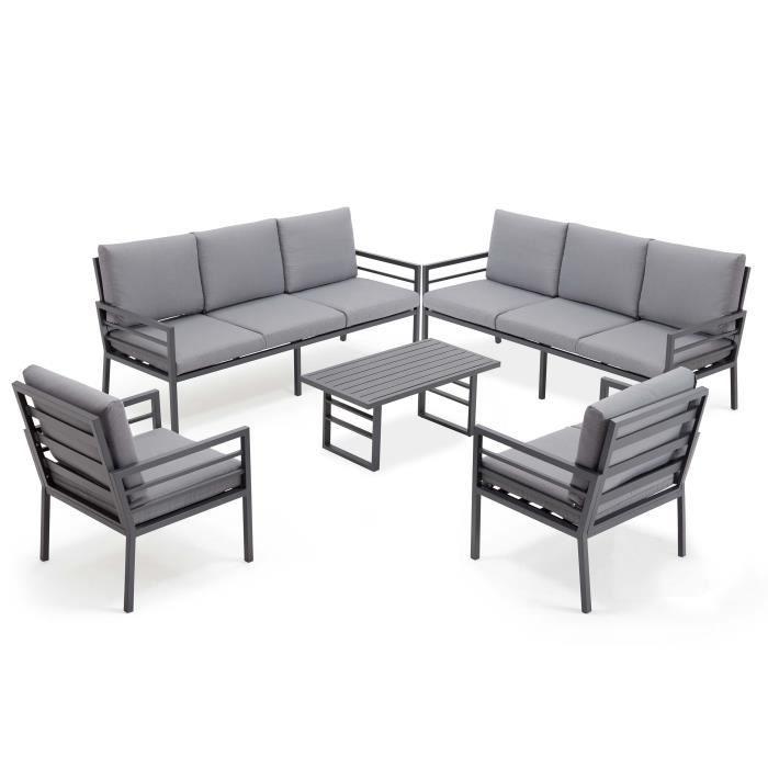 Salon de jardin 8 places en aluminium - ensemble 2 canpés, 2 fauteuils et 1  table pour 8 personnes - Gris foncé - Guyana