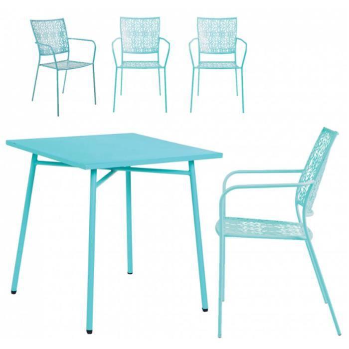 Ensemble table et chaise de jardin Ensemble de jardin en acier coloris bleu lagon ave
